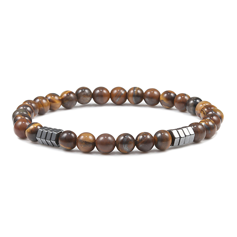 Geometric Men Bracelet Minimalist 6mm Beads Natural Lava Tiger Eye Stone Charm Distance Bracelets Homme Fashion Jewelry Gifts 3