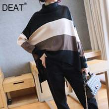 Turtleneck Sweater Pullover-Top Long-Sleeve Strriped Over-Size Autumn Fashion Casual