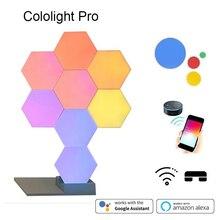 2019 새로운 양자 램프 diy led 야간 조명 크리 에이 티브 기하학 어셈블리 스마트 app 제어 google 홈 amazon alexa lamp lifesmart