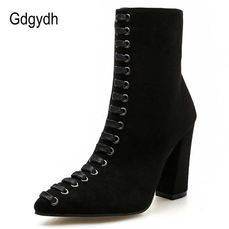 Gdgydh Vrouwen 2019 Zip Vrouwen Enkellaars Laceing Mode Vrouwelijke Korte Laarzen Zwart Beige Kudde Vrouwen Schoenen Herfst Nieuws Hot verkoop