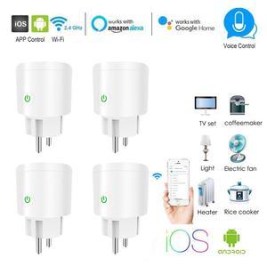 EU Smart Wifi Socket Plug WiFi Wireless Remote Control Socket Adaptor Power On And Off With APP Work With Alexa Google Home