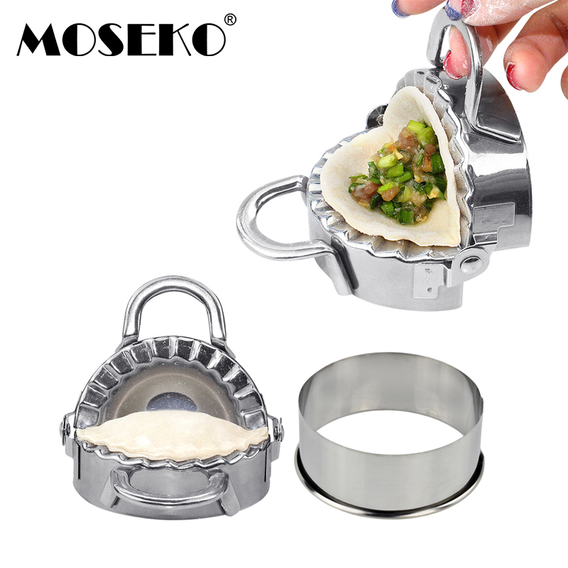 MOSEKO 1Set DIY Dumpling Maker Easy Stainless Steel Dumpling Mold Cookie Pastry Wrapper Dough Cutting Kitchen Tools