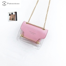 Pabaobao Small Square Shoulder Bag Fashion Transparent Crossbody Bags for Women 2019 Luxury Handbag with Chain Strap Dropship