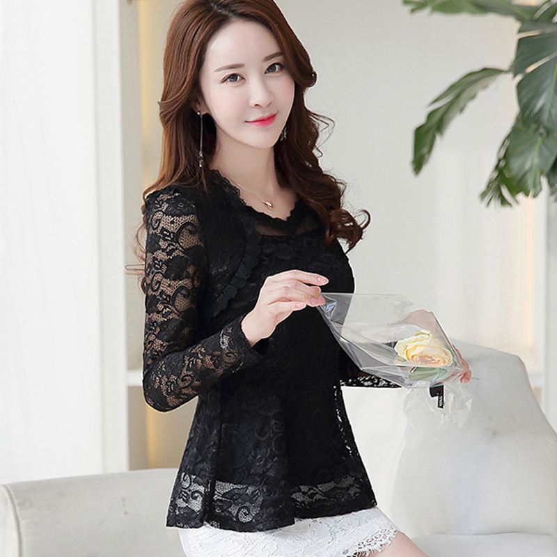 Plus Size Lace Women clothing Autumn 2019 Lace Shirt Tops Cutout basic Female Elegant Long-sleeve Lace Blouses shirts M-4XL 117F