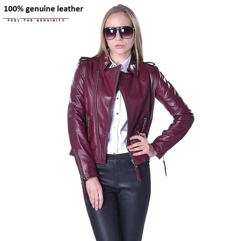 Factory Women's Leather Jacket For Women Genuine Sheepskin Leather Coat 5 Colors Slim Short Autumn Spring Female Jaqueta ZH073