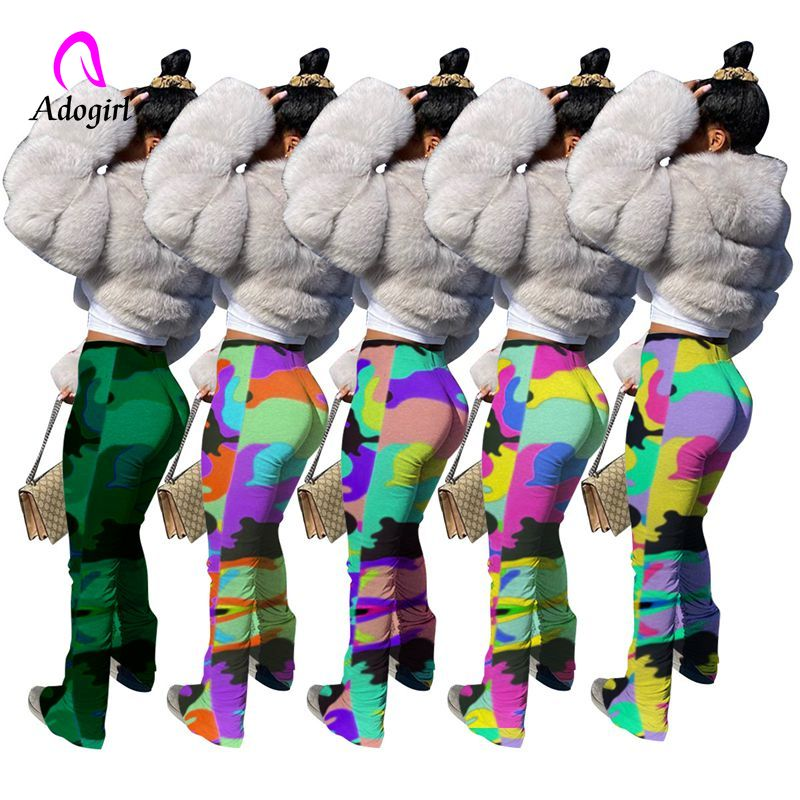 Camo High Waist Stacked Sweatpants Women Elastic Joggers Split Hem Sport Leggings Bell Bottom Trouser Fitness Flare Ruched Pants