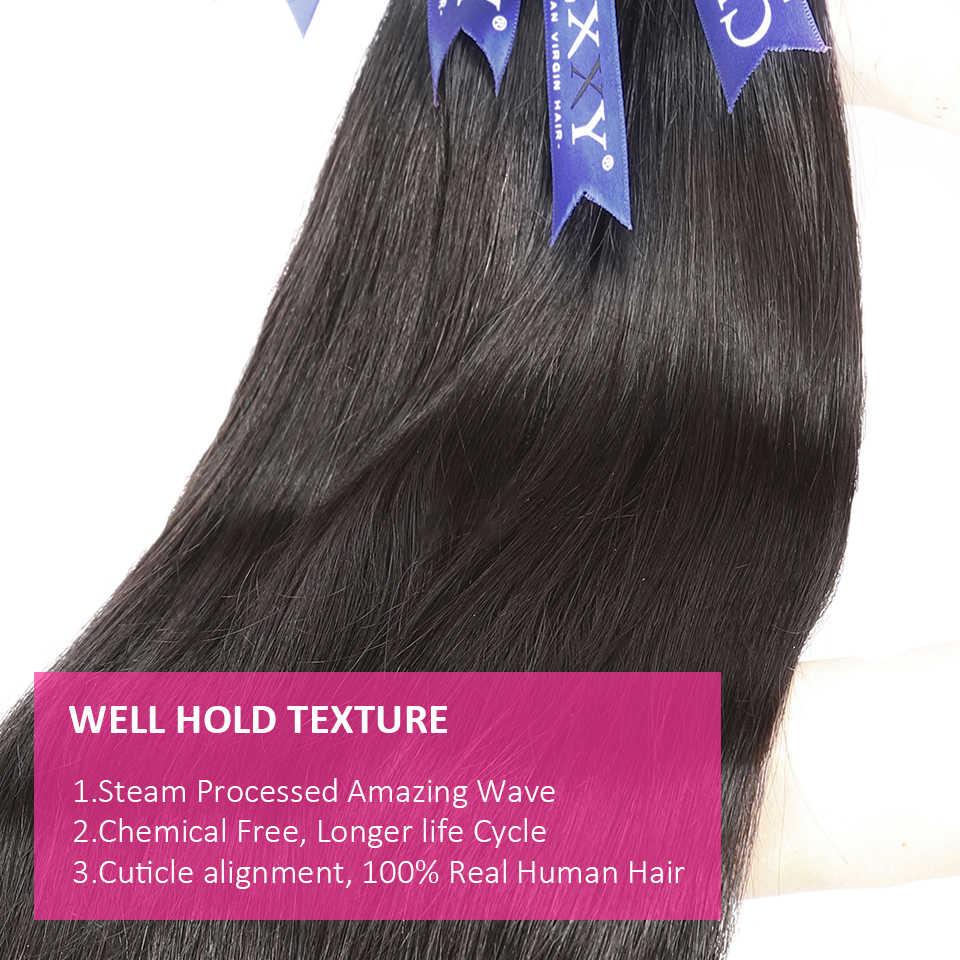 CEXXY düz 28 30 32 40 inç Remy brezilyalı saç örgü insan saç demetleri doğal renk 100% İnsan saç uzatma