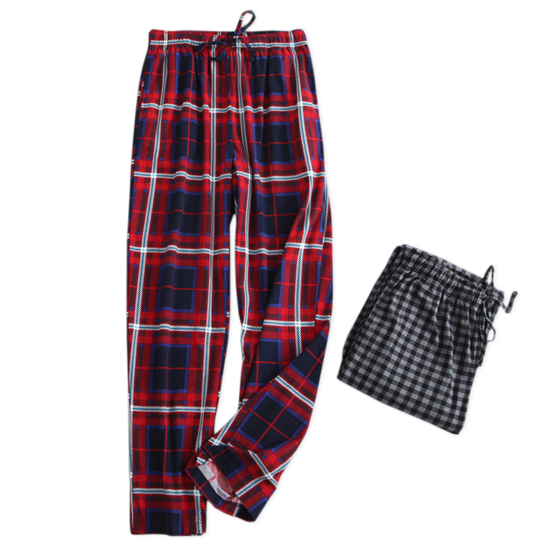 Plus Size 110kg Spring Cotton Plaid Sleep Bottoms Men Soft Casual Male Sleepwear Trousers Pijamas Mens Sheer Pajamas Pants
