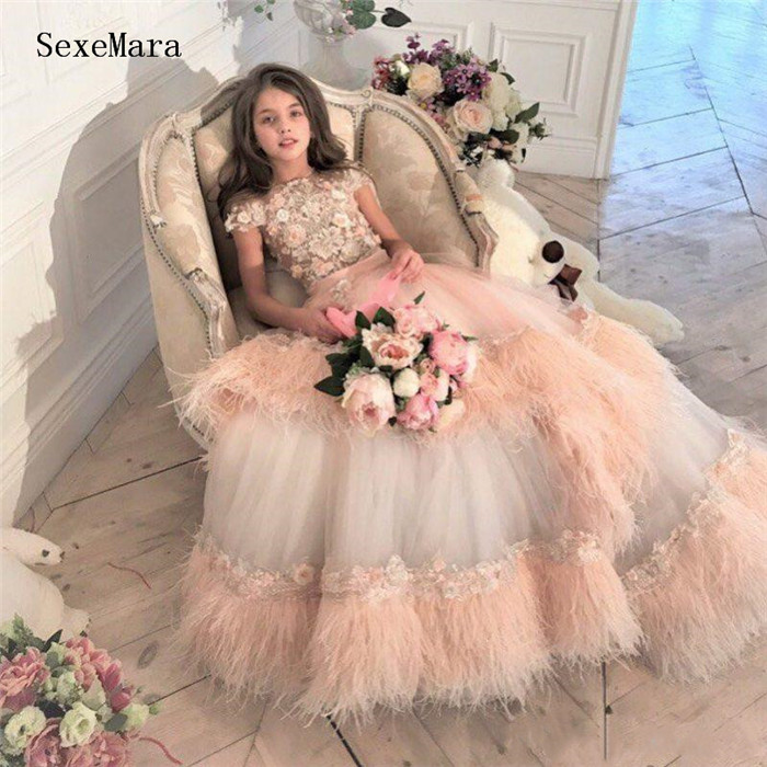 Luxury Princess Flower Girl Dresses For Wedding Tulle Party Pageant Dress Little Girls Kids Birthday Gown