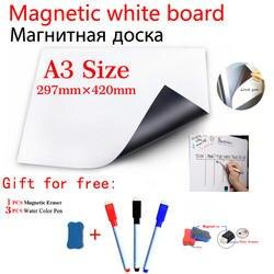 A3 Размеры магнитная доска для холодильник 3 ручек 1 ластик гибкий винил Дом Офис Кухня магнит маркерная доска белый Панели