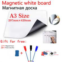 A3 Size Magnetic Whiteboard Magnet Dry Erase Board White Boards  Fridge Sticker Flexible Vinyl Home Office Kitchen 3 Pens 1 Eras
