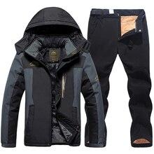 2020 Men Ski Jacket Ski Pants Winter Warm Windproof Waterproof Outdoor Sports Snowboarding Skiing Fleece Coat Trousers Ski Suit