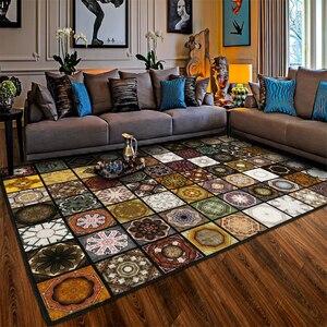 Image 3 - Модный мусульманский ковер с паркетом для гостиной, винтажный Американский коврик, нескользящий напольный коврик для спальни, индивидуальный коврик для дверей