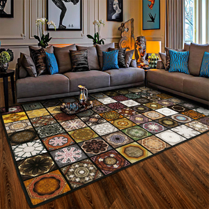 Image 3 - Fashion Parquet Muslim carpet for living room Vintage American Rug non slip floor mat for bedroom customizable Door Mat