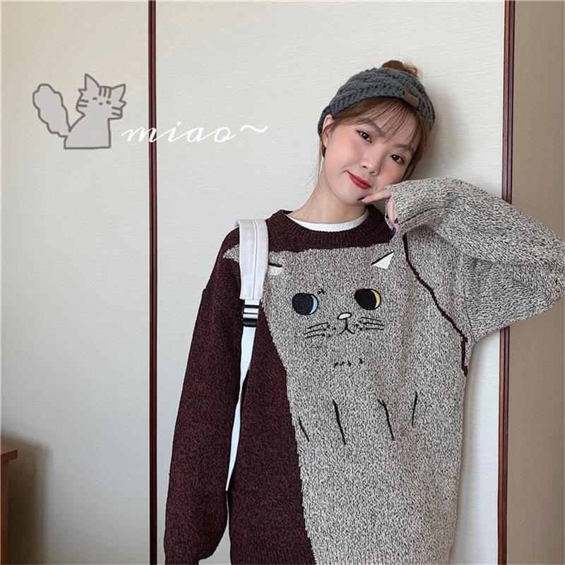 Women's Sweaters Japanese Kawaii Ulzzang Loose Casual Retro Lazy Cat Sweater Female Korean Harajuku Cute Clothing For Women
