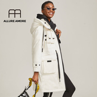 Allure Amore 2019 Winter Cotton Coat Women Zipper Big Pocket Outwear Jackets Hooded Thicken Warm Parkas Ladies