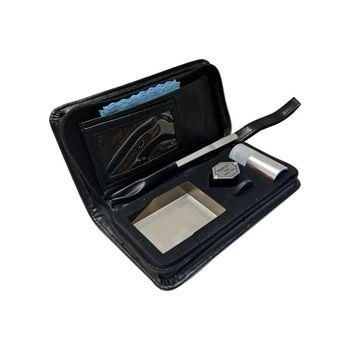 Portable Diamond Testing Tool Bag Gem Identification Black Leather Bag Tool Kit Cut Magnifying Glass Tweezers Diamond Cleaning