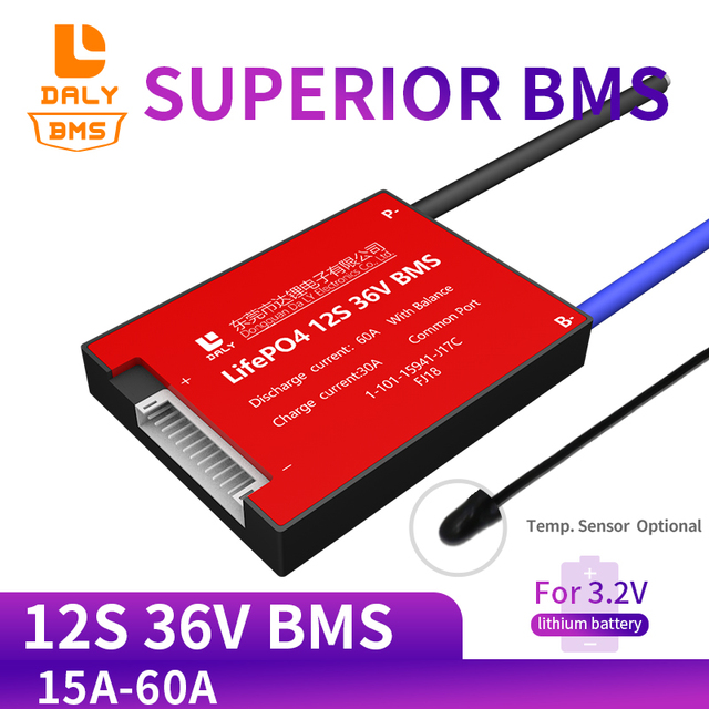 3.2V 50ah 12S 36V 15A 20A 30A 40A 50A 60A Lifepo4 BMS PCM Battery Protection Board with  Balance Function  NTC for Scooter