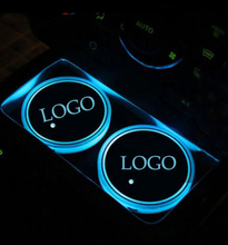 2PCS/set Colorful LED Car Cup Holder Pad Mat for Lincoln Automobiles Coasters Interior Atmosphere Lights