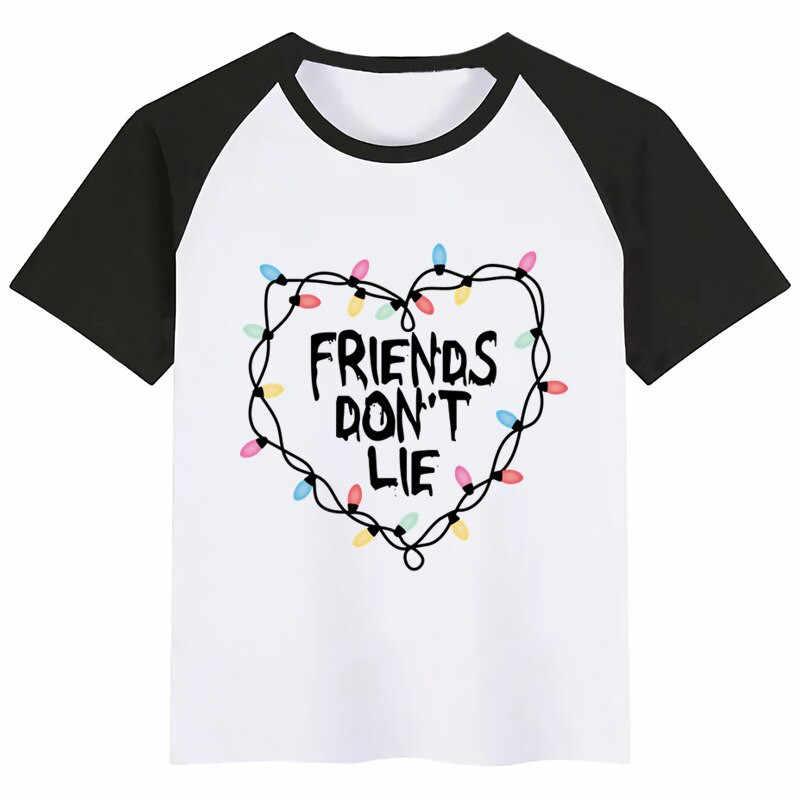 BoysGirls Straniero Le Cose Gli Amici Non Si Trovano Del Fumetto di Stampa T Shirt Divertente Dei Capretti Dei Vestiti Dei Bambini di Estate Del Manicotto Del Bicchierino T-Shirt