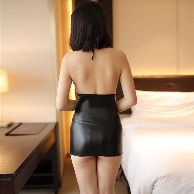 Sexy slim lace pu stitching dress Summer open chest backless short dress Massry 2019 fashion Sling mini women's bodycon clothing 3