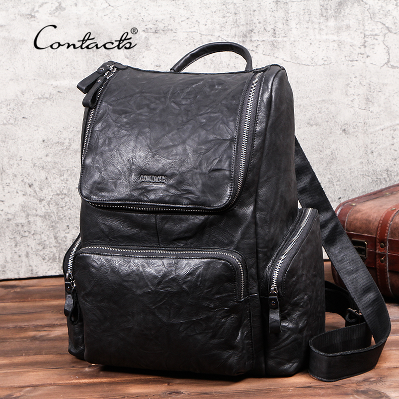 CONTACT'S New Men Travel Backpack Full-grain Cow Leather 15 inch Laptop Backpacks Casual Male Mochila Large Capacity Men's Bag