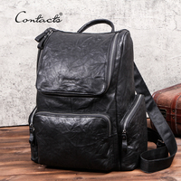CONTACT'S New Men Travel Backpack Full grain Cow Leather 15 inch Laptop Backpacks Casual Male Mochila Large Capacity Men's Bag
