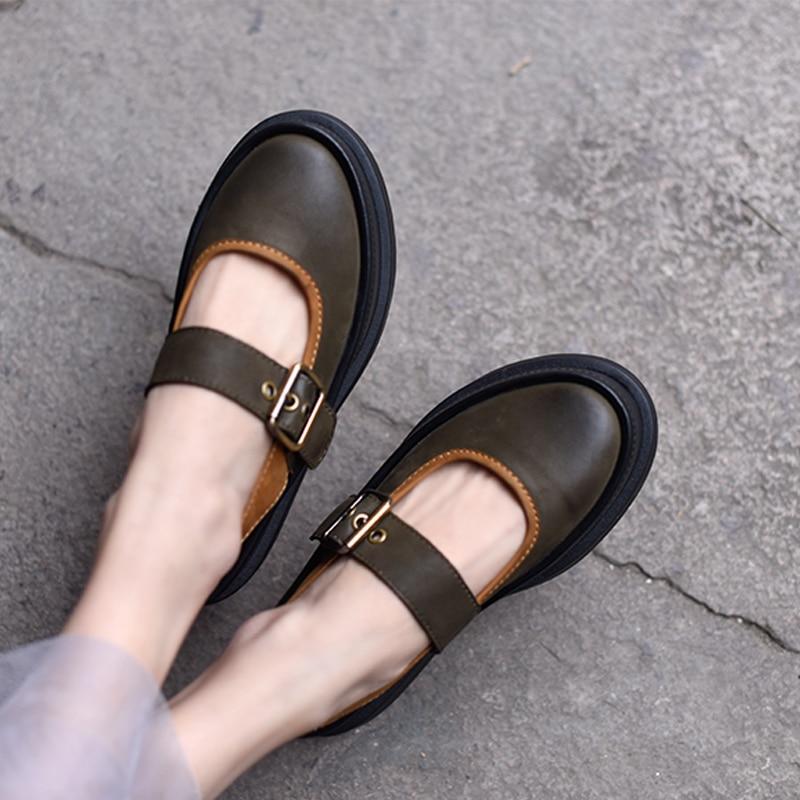 Artmu Original Flats Shoes Mary Jane Women Flat Plaform Genuine Leather Buckle Platform Shoes Thick Heels zapatos mujer