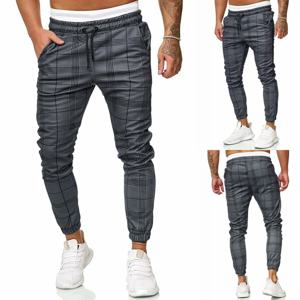 Spring Men's Pocket Pants Long Casual Sport Pants Slim Fit Plaid Trousers Running Joggers Sweatpants Pantalones Hombre#G2