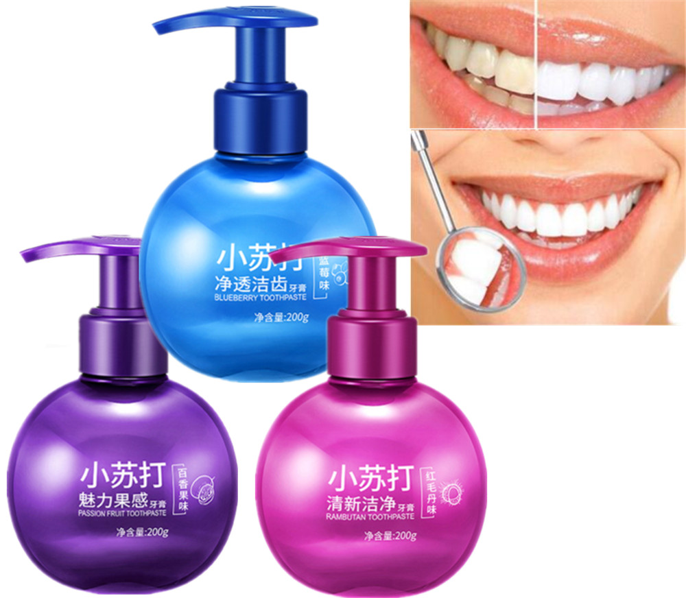 200g Passion Fruit Blueberry Baking Soda Toothpaste Teeth Whitening Toothpaste Oral Hygiene Dental Care Remove Tooth Stains
