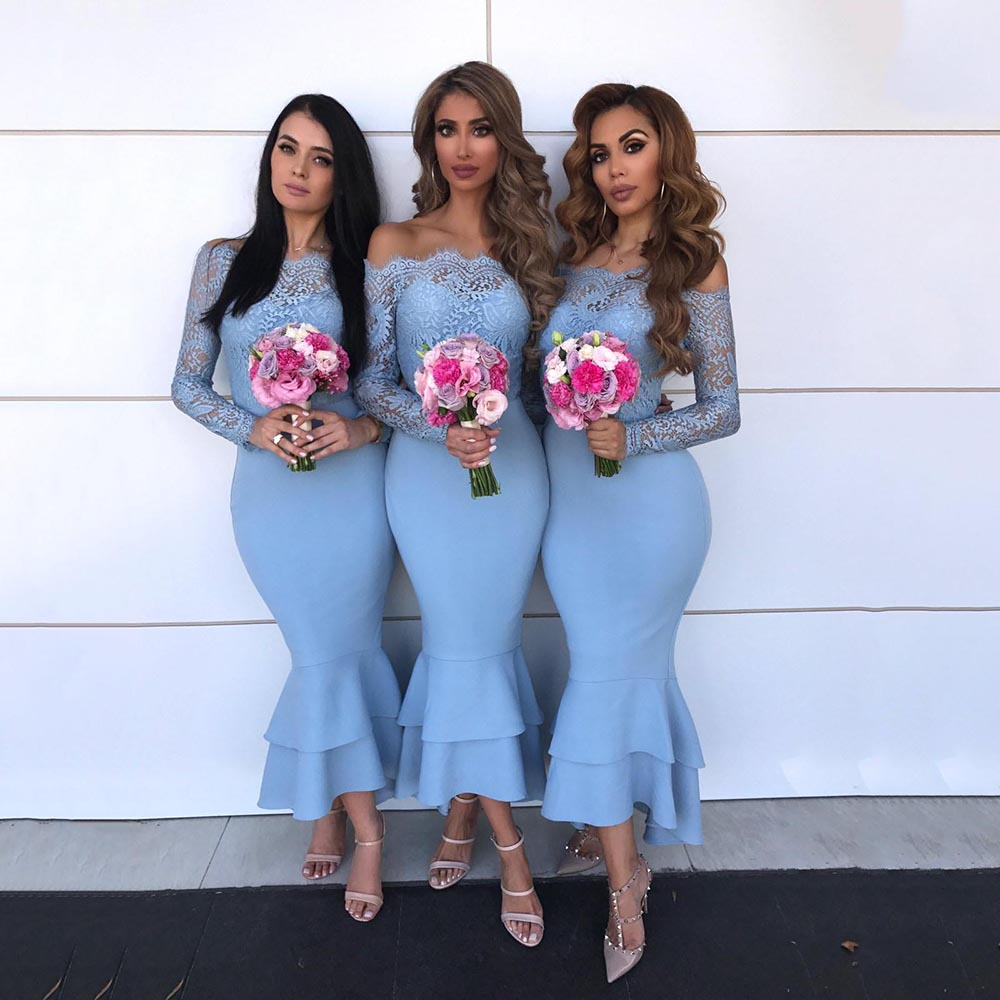 Vestido Para Festa Wedding Guest Dresses Elegant Off Shoulder Lace Bridesmaid Gowns Long Sleeve Ruffles Mermaid Bridesmaid Dress