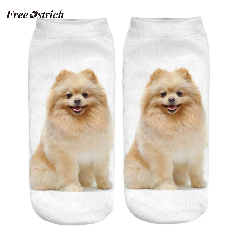 Free Ostrich Fashion Women Hot 3D Cartoon Funny Crazy Cute Dogs Amazing Novelty Print Ankle Socks S06