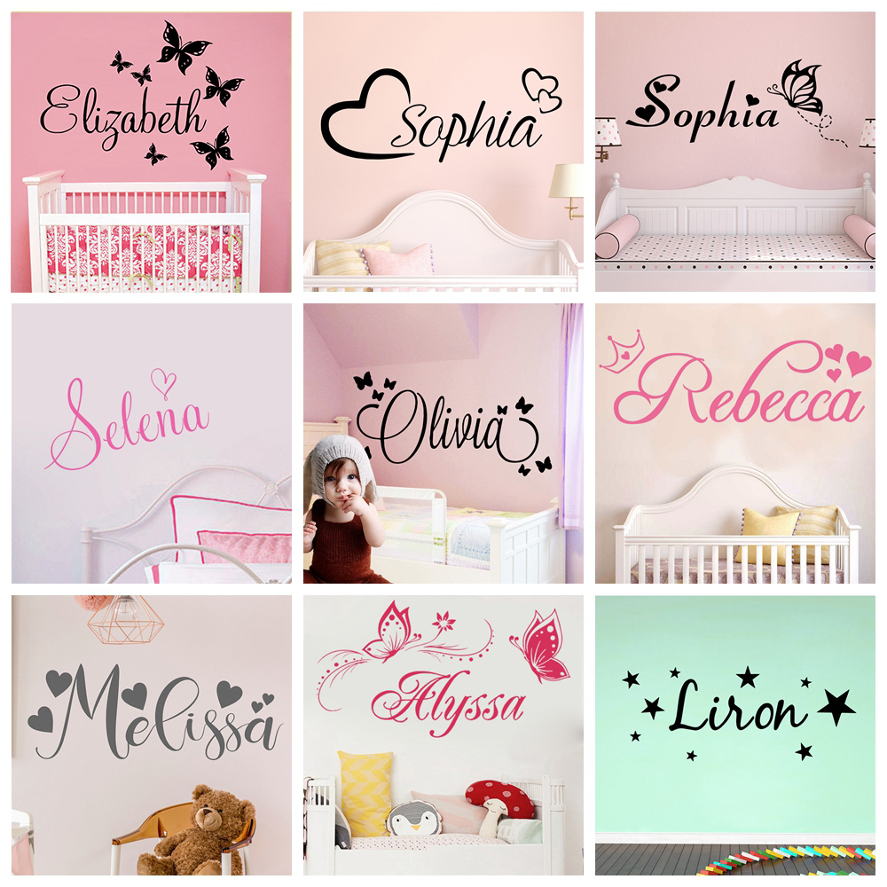 Wall-Sticker Bedroom Decals Custom-Name Nursery Butterfly Personalized Kids for Vinyl