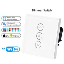 FEEO WiFi Smart Wall Touch Light Dimmer Switch  EU Standard APP Remote Control Compatible with Alexa and Google Home wifi smart wall touch light dimmer switch ac100 240v10a us eu uk standard free app voice control work with alexa and google home