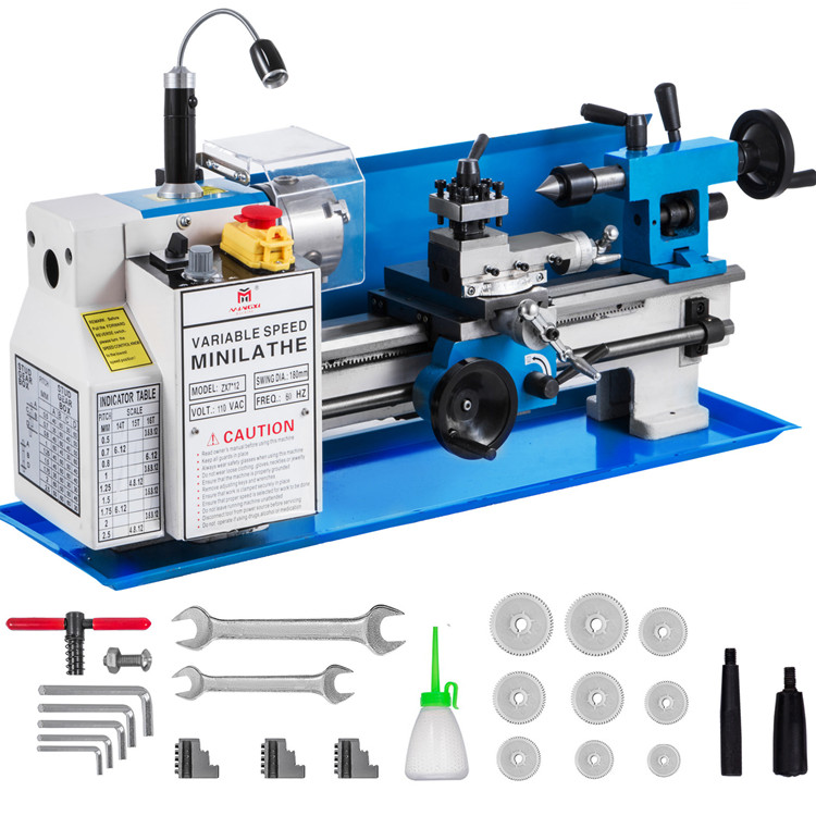 7x12 Precision Bench Top Mini Metal Milling Lathe Variable Speed 50-2500 RPM Nylon Gear With A Movable Lamp
