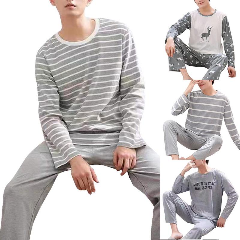 Men Pajama Sets Cotton Male Long Sleeve Striped Pajama Set For Man Autumn Sleepwear Suit Pajama Casual Homewear Nightwear 2021