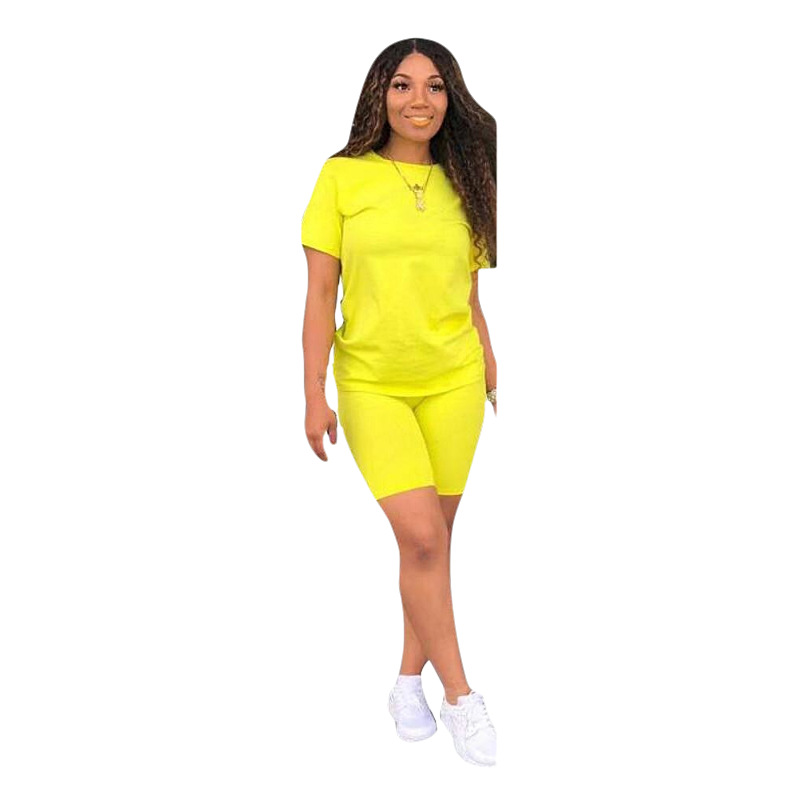 Neon Yellow Casual Two Piece Set Sexy Club Outfits Women V Neck Short Sleeve T Shirt And Biker Shorts Sweat Suits Matching Sets