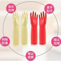 Ścięgna odporne na zużycie pranie gumowe wodoodporny  długi gruby zmywacz gumowe długie lateksowe rękawice gumowe z długim rękawem w Rękawice do użytku domowego od Dom i ogród na