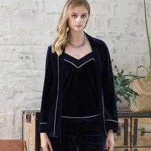 3-piece Set Gold Velvet Pajamas Sexy Women Autumn Winter Warm Sleepwear Sleeveless Strap Nightwear Robe