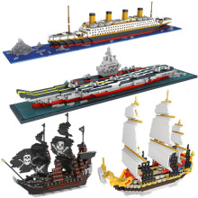 Small Particle Building Blocks Pirate Ship Series Titanic Liaoning Cruise Ship Model Ship DIY Mini Children Building Blocks Toys diy simulation remote control ship model kit for tug804 tugboat rescue ship small scale and moped tugboat 1 18