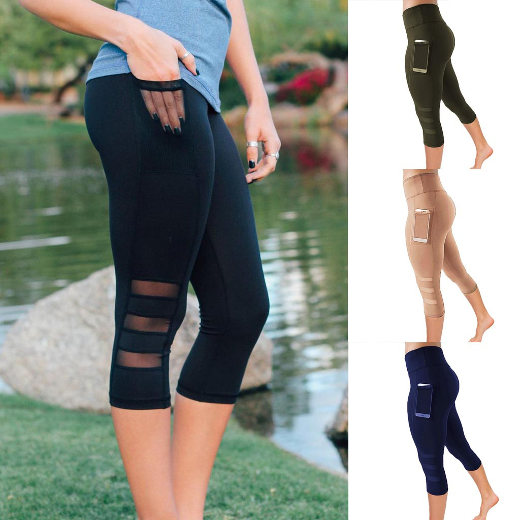 NEW Casual Leggings Women Elastic Skinny Leggings Patchwork Mesh Women's Leggings Fitness Capri Pants