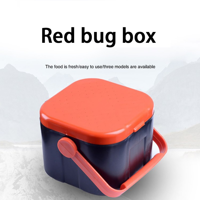 New Hot! Pin Earthworm Box Fishing Gear Fishing Accessories Red Insect Box Earthworm Box With Red Handle Box Red Insect Box