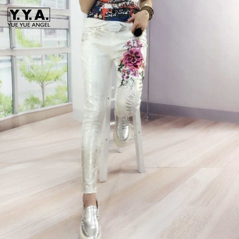 Fashion Folk Women Flower Embroidery Beading Skinny Jeans Female White Trousers Casual Hole Ripped Stretch Denim Pencil Pants