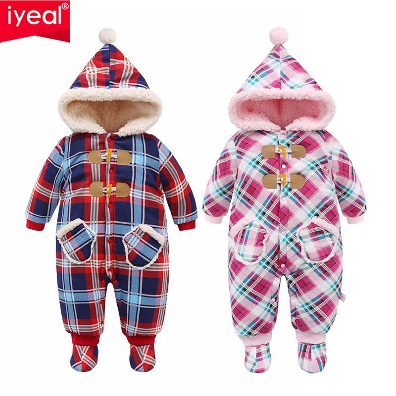 IYEAL Christmas Baby Girl Clothes Winter Rompers Kids Infant Newborn Plaid Jumpsuit Thickening Cotton Warm Romper For 0-18M
