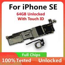 100% desbloqueado placa mãe para iphone se desbloqueado mainboard com touch id sistema ios função completa placa lógica