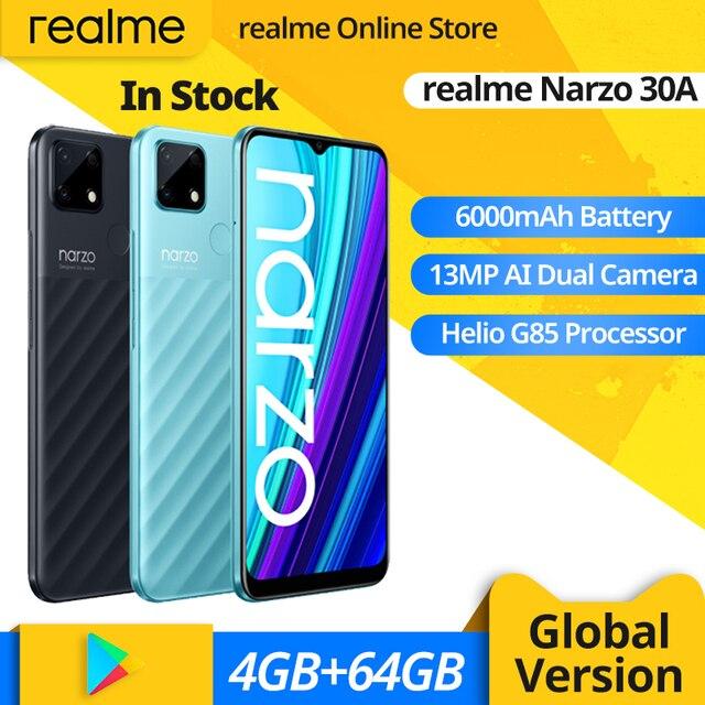 realme Narzo 30A Global Version Smartphone 4GB 64GB Helio G85 6.5 Inch Fullscreen 13MP AI Dual Camera 18W Quick Charge 1
