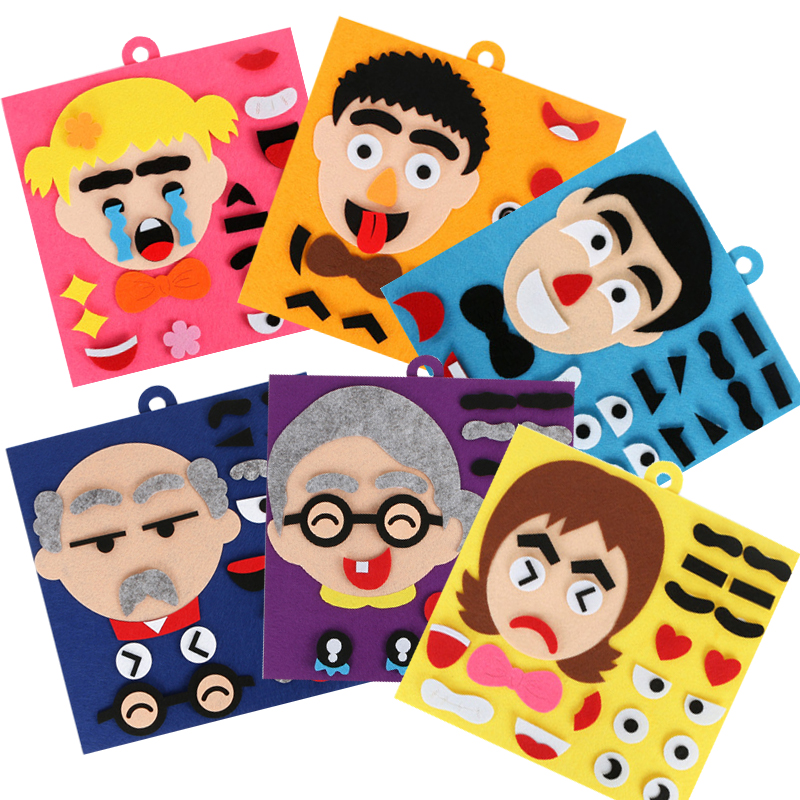 6pcs/Set Children's Educational Toys Non-woven Kindergarten Emotions Child Learning Felt Diy Facial Expression Puzzle Game Toys