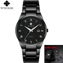цена на WWOOR Men's Watch Stainless Steel Waterproof Man Watches Quartz Analog Date Clocks Male Black Strap Wristwatch montre homme #a