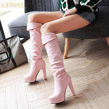 Sexy Women's High Boots 2020 Platform Slip On High Heels Shoes For Woman Winter And Spring Fashion Over The Knee Women Long Boot