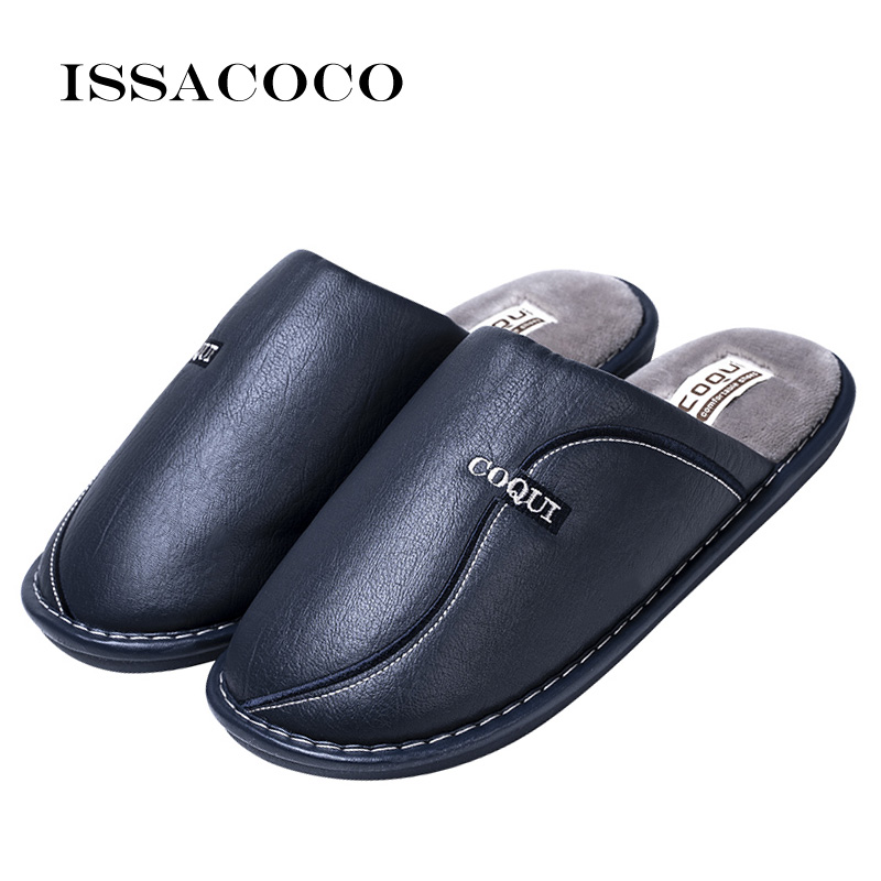 ISSACOCO New Men's Winter Slippers Non Slip Indoor Slippers For Men Leather Waterproof Warm Home Slipper Man Slippers Shoes Men